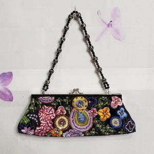 Far Nine Multi-color Embroidered Satin Clutch Bag